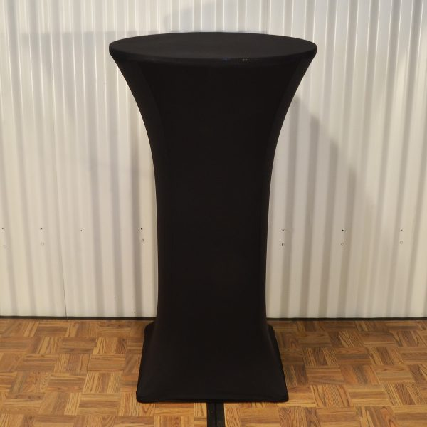 bar table cover black from mia party hire