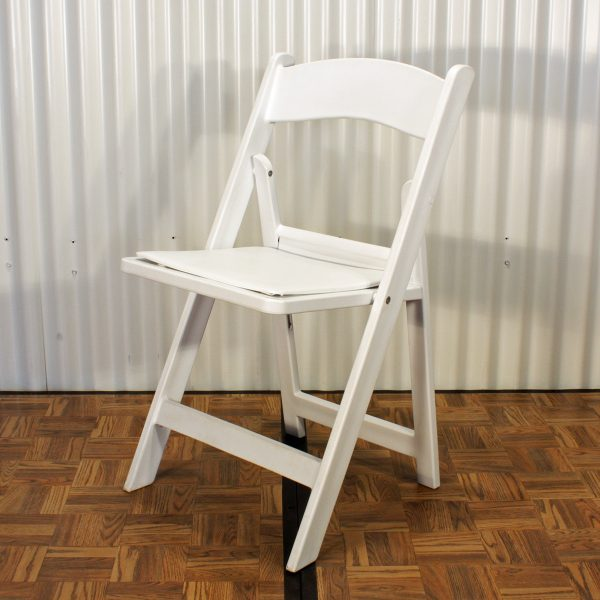 chair white folding front from mia party hire