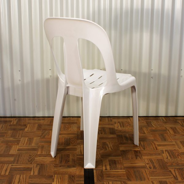 white plastic chair from mia party hire